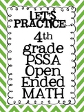4th Grade PSSA Math Open Ended Practice Questions