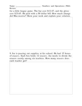 4th Grade PSSA Review Sheets