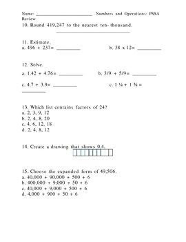 4th Grade PSSA Review Sheets