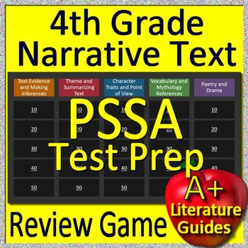 4th Grade PSSA Test Prep Reading Literature and Narrative Review Game