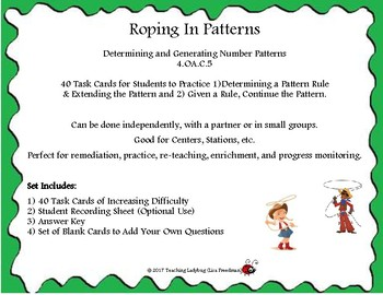 4th Grade Pattern Task Cards CCSS: 4.OA.C.5