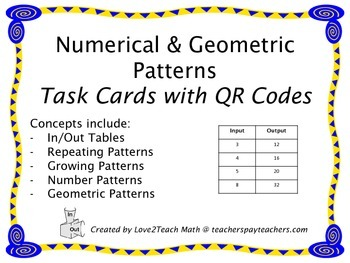 4th Grade Pattern Task Cards with QR Codes