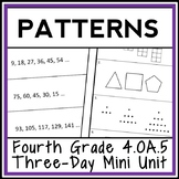 4th Grade Patterns 3-Day Mini-Unit: Number Patterns & Shape Patterns (4.OA.5)