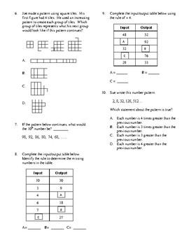 4th Grade Patterns Unit Test