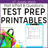 4th Grade Math Performance Based Assessments Practice Printables