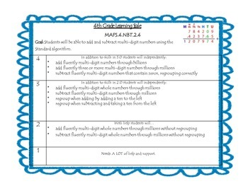 4th Grade Performance Scales (Ch 1 & 2)- Florida Standards