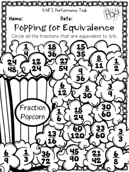 4th Grade Performance Tasks 4.NF.1, 4.NF.2, 4.NF.3 Fractions Printables