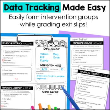 4th Grade Personal Financial Literacy TEKS Exit Slips