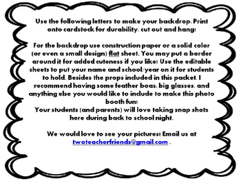 4th Grade Photo Booth ~ Editable