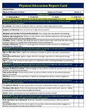 4th Grade Physical Education Standard Based Report Card