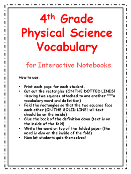 4th Grade Physical Science Vocabulary