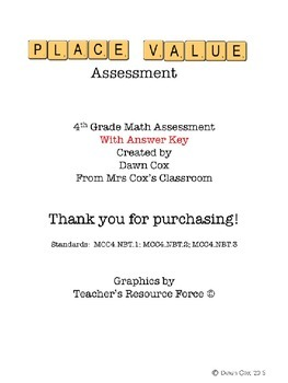 4th Grade Place Value Assessment with Answer Key
