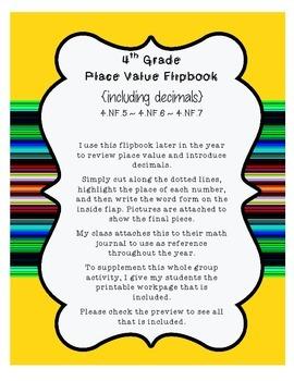 4th Grade Place Value Flipbook {includes decimals} & BONUS Practice Page