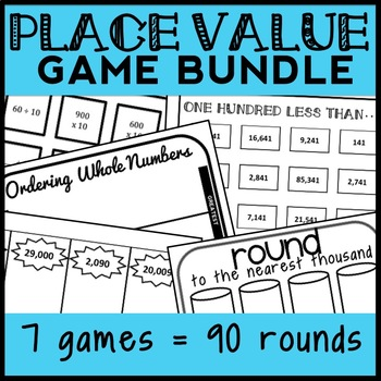 4th Grade Place Value Game Bundle, 7 Games (94 Rounds)