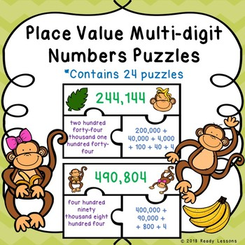 4th Grade Place Value Game Puzzles Number Names Numerals Expanded