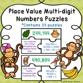 4th Grade Place Value Game Puzzles Number Names Numerals & Expanded Form 4.NBT.2