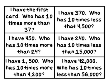Place Value: I Have, Who Has Game, 4th Grade Common Core Aligned