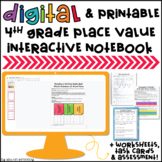 4th Grade Place Value Interactive Notebook, Worksheets, Task Cards & Assessment