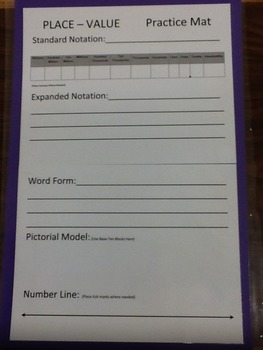 4th Grade Place Value Practice Mat to the Billions Place