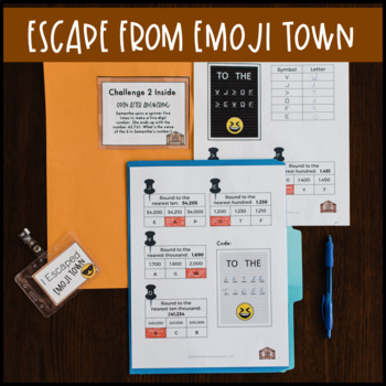 4th Grade Place Value Review Escape Room Escape from Emoji Town