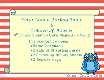 Place Value Sort Game and Printable Follow Up Practice-2 Differentiated Sets