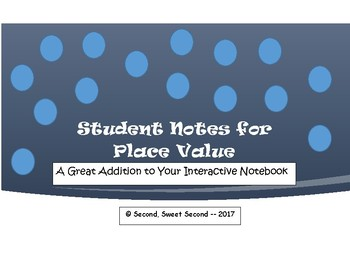 4th Grade Place Value Student Note Pages
