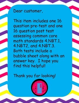 4th Grade Place Value Test 4.NBT. 1, 4.NBT.2, 4.NBT.3 (Test 1)