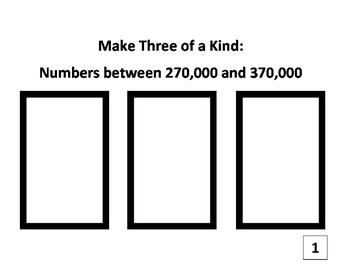 4th Grade Place Value Three of a Kind Game for Common Core