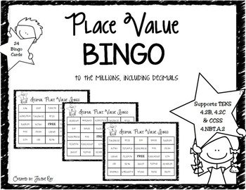 4th Grade Decimal Place Value Bingo: TEKS 4.2B, 4.2C & CCS