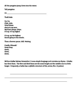 4th Grade Poetry Unit Assessment