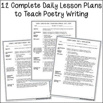 4th Grade Poetry Unit   Unit 6   2 Weeks of CCSS Aligned Lesson Plans