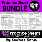 4th Grade Math Practice Sheet BUNDLE: All 4th Grade Standards