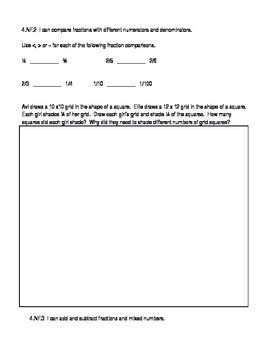 4th Grade Pre-Assessment Common Core Fractions and Decimals