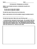 4th Grade Pre-Assessment Common Core Multiplication and Division