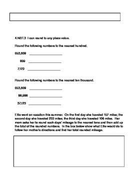 4th Grade Pre-Assessment Common Core Place Value