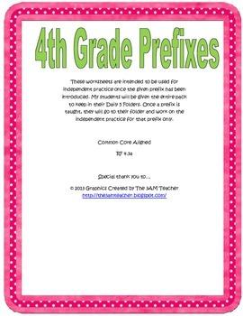 4th Grade Prefix Practice