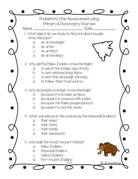 4th Grade Prehistoric Indian Test with Primary & Secondary Sources (Ohio Model )