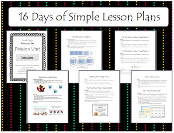 4th Grade Print and Go Division Unit - 16 Days of Lessons!