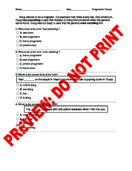 4th Grade Progressive Tenses Assessment
