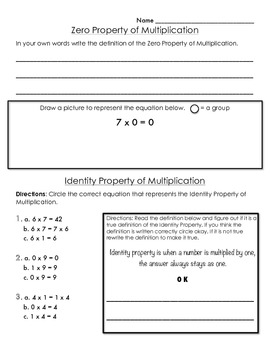 4th Grade Properties of Multiplication Graphic Organizer and Practice 4.OA.1