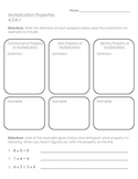 4th Grade Properties of Multiplication Graphic Organizer a