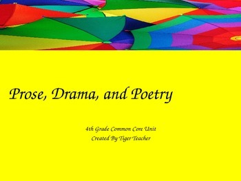 4th grade prose drama poetry powerpoint common core aligned. Black Bedroom Furniture Sets. Home Design Ideas