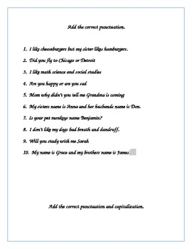 4th Grade Punctuation Review Packet