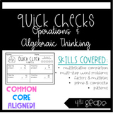 4th Grade Quick Checks Operations & Algebraic Thinking