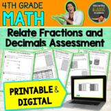 4th Grade | RELATE FRACTIONS & DECIMALS Assessment or REVIEW for TEST