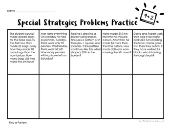4th Grade Word Problems Special Strategies