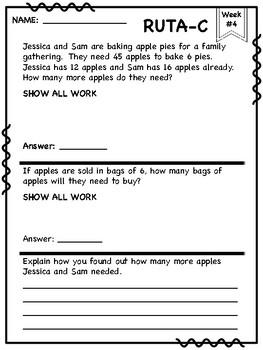 4th Grade RUTA-C math word problems
