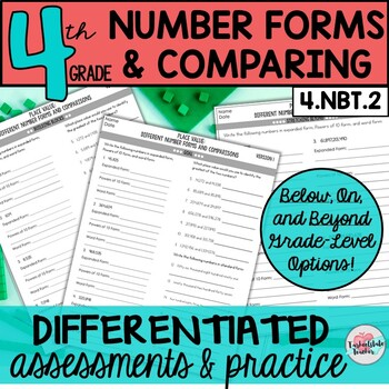 4th Grade Read, Write, Compare Whole Numbers  {Differentiated Number Forms}