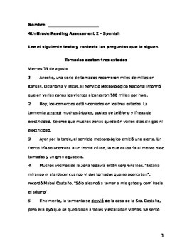 4th Grade Reading Assessment 2 – Spanish