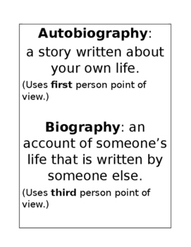 4th Grade Reading Autobiography and Biography Chevron